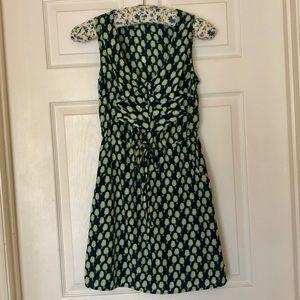 Bebop Green Bird Print Front Tie Dress S